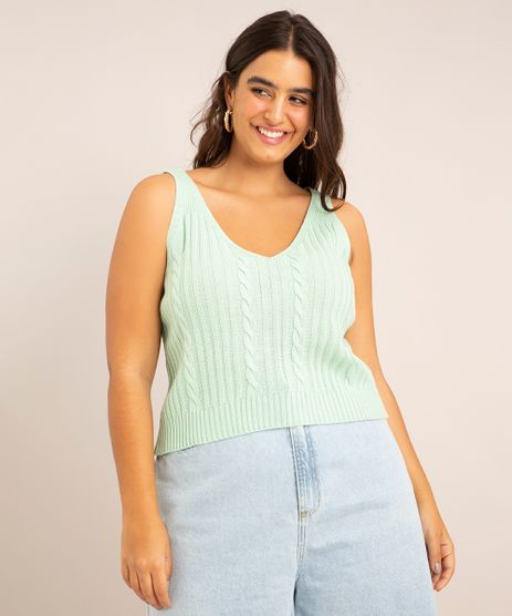 Regata-Cropped-Plus-Size-Trico-Decote-V--Verde-Claro-1004106-Verde_Claro_1