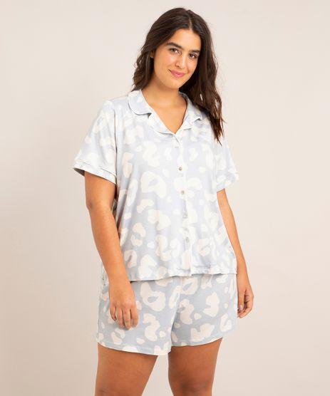 Pijama-Plus-Size-Manga-Curta-Animal-Print-com-Botoes-Azul-Claro-9998104-Azul_Claro_1