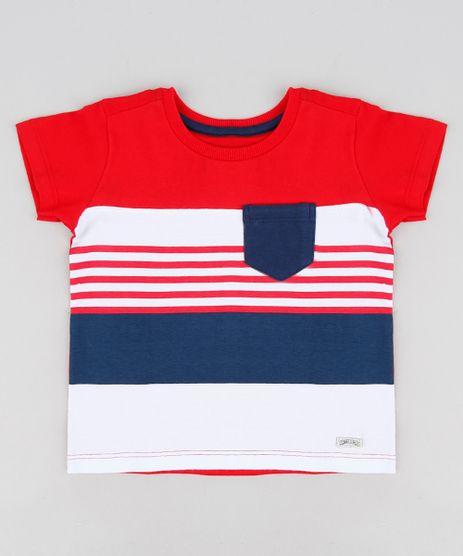 Camiseta-Infantil-com-Listras-e-Bolso-Manga-Curta-Gola-Careca-Vermelha-8733145-Vermelho_1
