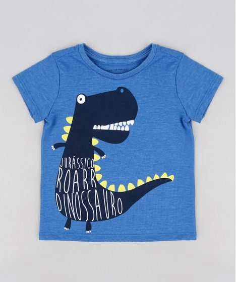 2ac5f2962ceae Camiseta Infantil Dinossauro Manga Curta Gola Careca Azul - cea