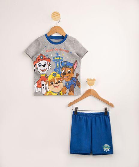 Pijama-Infantil-Patrulha-Canina--Hora-de-Dormir--Manga-Curta-Cinza-Mescla-1002936-Cinza_Mescla_1