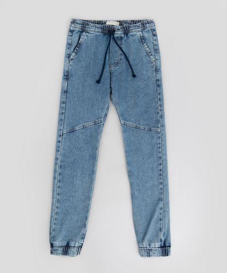 Calca-Jeans-Infantil-Jogger-com-Cordao-em-Moletom-Azul-Medio-9240103-Azul_Medio_1