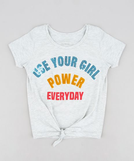 Blusa-Infantil--Use-Your-Girl-Power-Everyday--com-Paetes-Manga-Curta-Decote-Redondo-Cinza-Mescla-Claro-9245397-Cinza_Mescla_Claro_1
