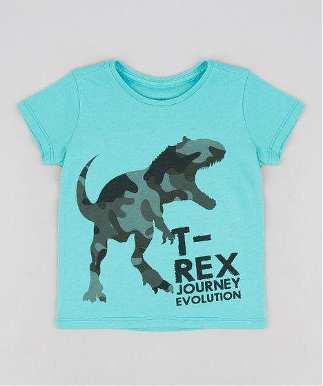 625c345c0 Camiseta Infantil Dinossauro Manga Curta Gola Careca Verde - cea