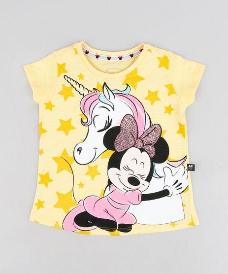 Blusa-Infantil-Minnie-com-Unicornio-e-Paetes-Manga-Curta-Decote-Redondo-Amarela-9298899-Amarelo_1