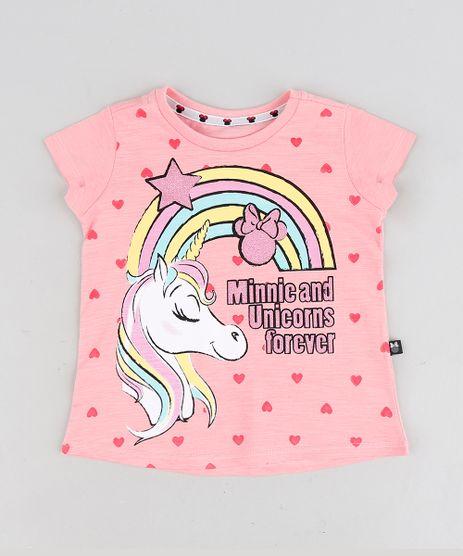 Blusa-Infantil--Minnie-and-Unicorns-Forever--com-Glitter-Manga-Curta-Decote-Redondo-Rosa-9298898-Rosa_1