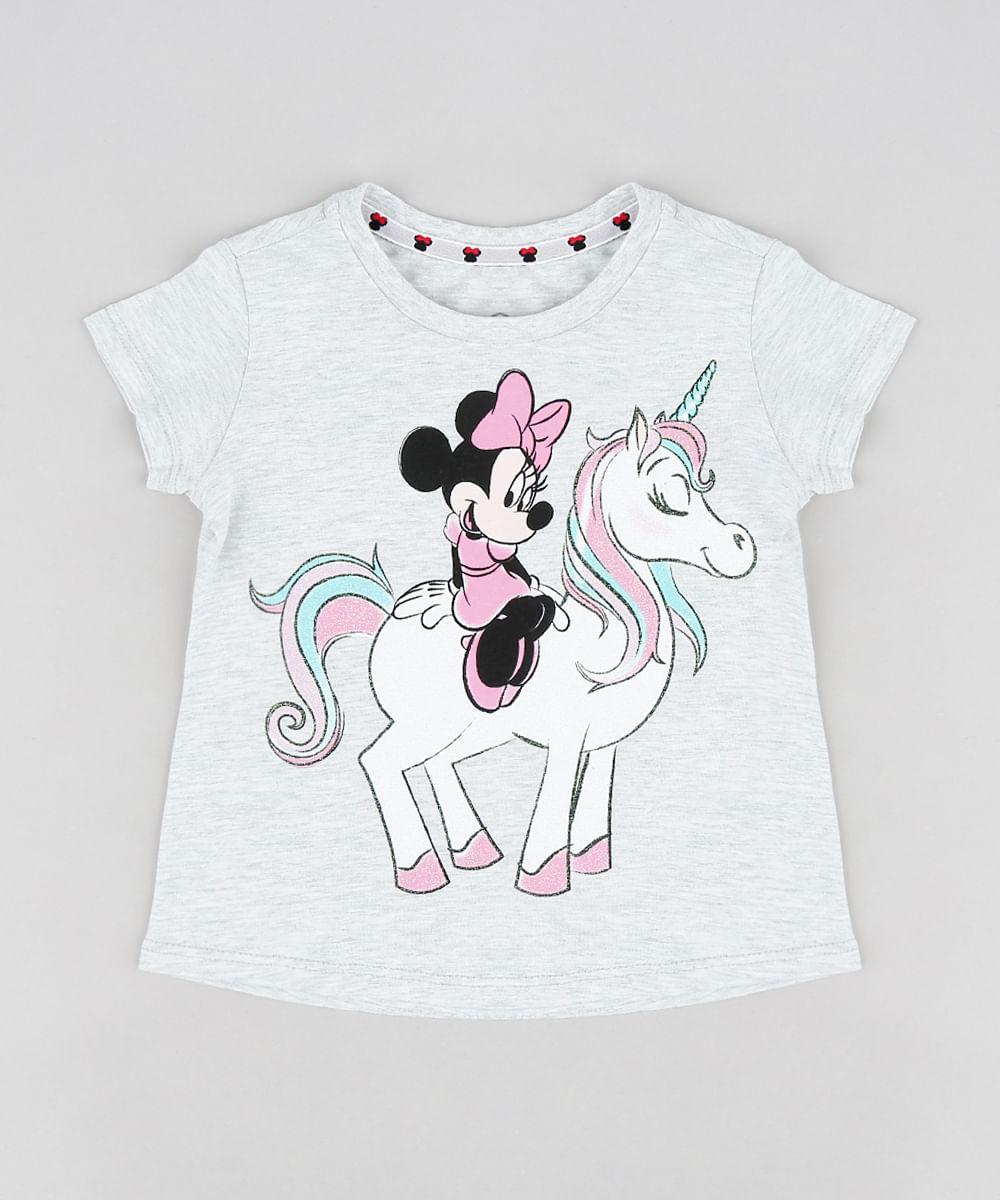 4bf4a068cf Blusa Infantil Minnie e Unicórnio com Glitter Manga Curta Decote ...