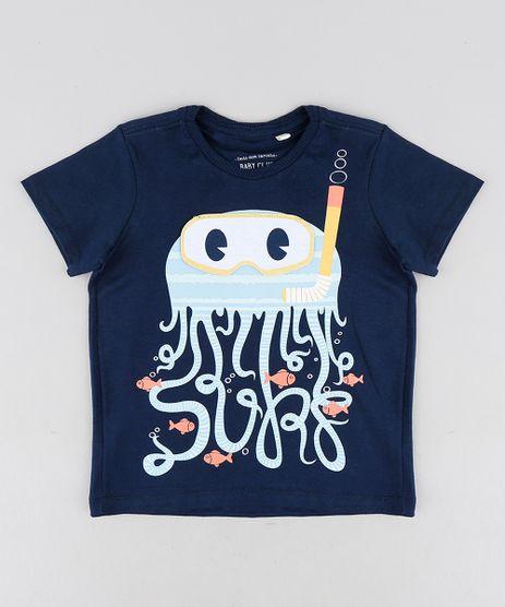 Camiseta-Infantil-com-Estampa-Interativa-de-Polvo-Manga-Curta-Gola-Careca-Azul-Marinho-9228139-Azul_Marinho_1