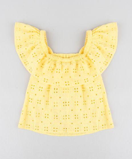 Blusa-Infantil-Ciganinha-em-Laise-Manga-Curta-Amarela-9182800-Amarelo_1