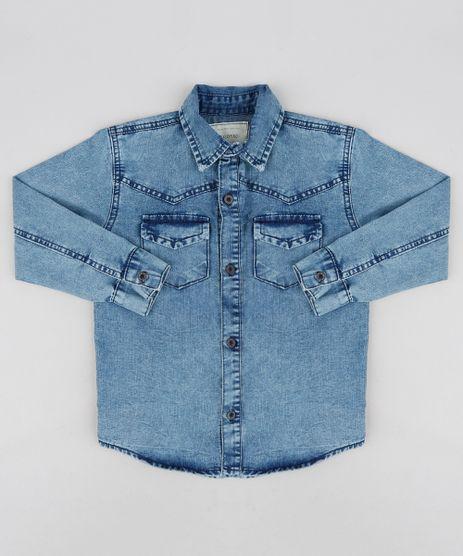 Camisa-Jeans-Infantil-com-Bolsos-Manga-Longa-Azul-Medio-9235830-Azul_Medio_1