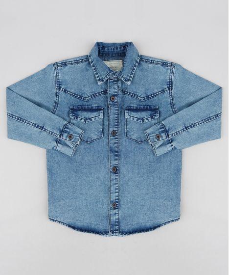 Camisa Jeans Infantil com Bolsos Manga Longa Azul Médio - cea 3f193b275885f