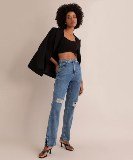 Calca-Reta-Jeans-Marmorizado-Destroyed-Cintura-Super-Alta-Azul-Medio-1005719-Azul_Medio_1