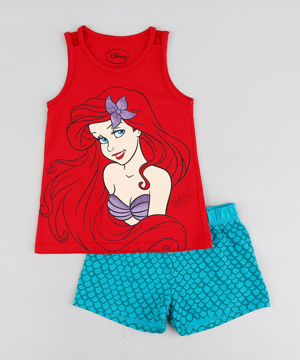 005bd871c39867 Pijama Infantil Pequena Sereia Ariel Sem Manga Vermelho - cea