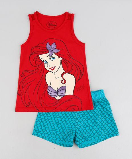 Pijama-Infantil-Pequena-Sereia-Ariel-Sem-Manga-Vermelho-9226380-Vermelho_1