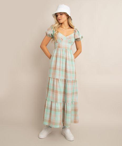 vestido-midi-de-algodao-estampado-xadrez-com-recortes-e-lastex-manga-bufante-verde-1009684-Verde_1