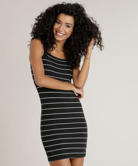 Vestido-Feminino-Basico-Curto-Listrado-Alca-Fina-Decote-Redondo-Preto-9241376-Preto_1
