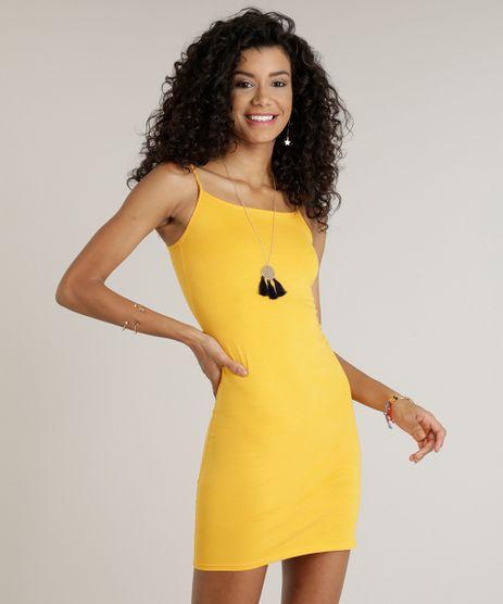 Vestido-Feminino-Basico-Curto-Alca-Fina-Decote-Redondo-Mostarda-9241375-Mostarda_1