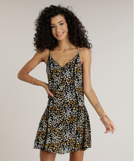 Vestido Feminino Amplo Curto Estampado Floral com Botões Alças Finas ... 9dc21a9530b22