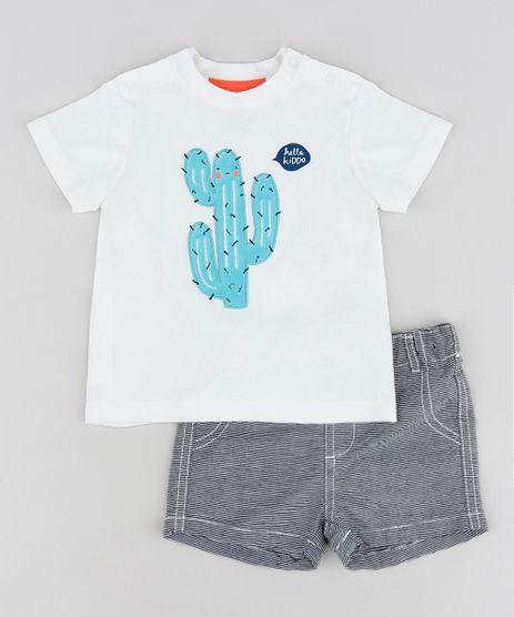 Conjunto-Infantil-de-Camiseta-Cacto-Manga-Curta-Off-White---Bermuda-Listrada-Cinza-9123456-Cinza_1