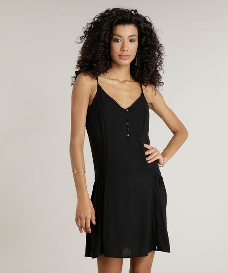 Vestido-Feminino-Amplo-Curto-com-Botoes-Alcas-Finas-Decote-V-Preto-9089466-Preto_1
