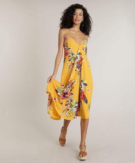 Vestido-Feminino-Midi-Amplo-Estampado-Floral-Alcas-Finas-Decote-V-Mostarda-9191187-Mostarda_1