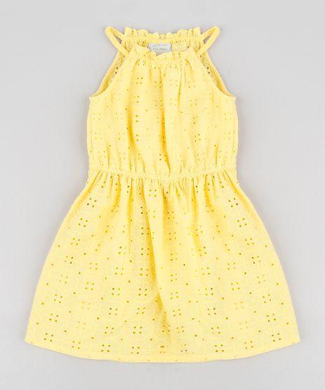 Vestido-Infantil-em-Laise-com-Babado-Halter-Neck-Curto-Amarelo-9182801-Amarelo_1