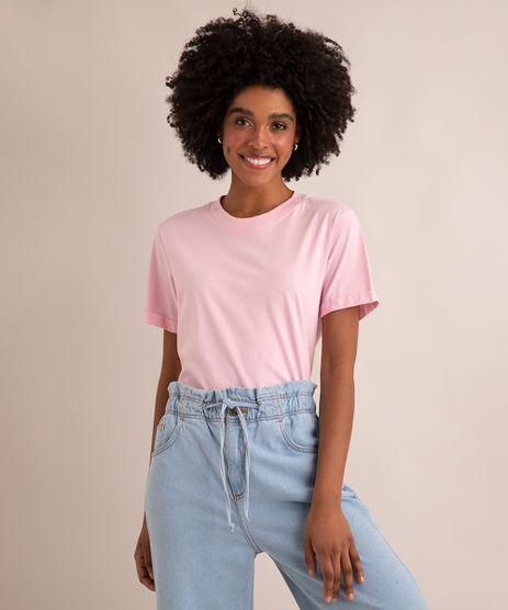 Camiseta-de-Algodao-Basica-Manga-Curta-Decote-Redondo--rosa-claro-9980091-Rosa_Claro_1