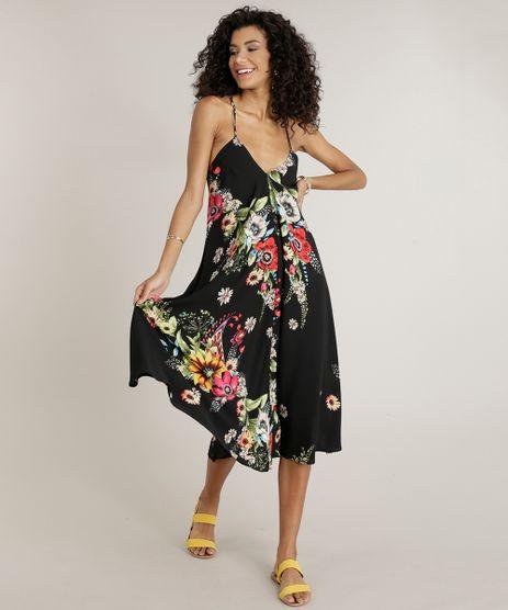 Vestido-Feminino-Midi-Amplo-Estampado-Floral-Alcas-Finas-Decote-V-Preto-9191187-Preto_1