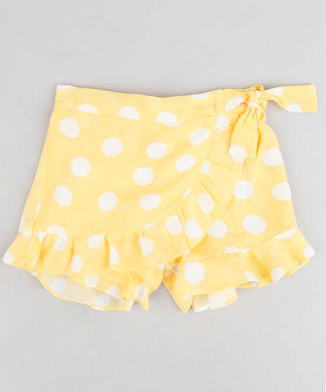 Short-Saia-Infantil-Estampado-de-Poa-com-Transpasse-e-Laco-Amarelo-9245122-Amarelo_1