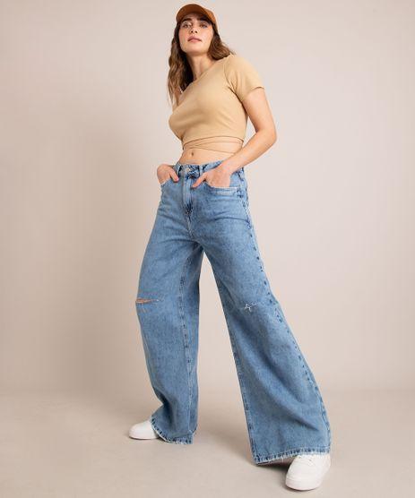 Calca-Wide-Jeans-com-Rasgos-Cintura-Baixa-Azul-Medio-1006877-Azul_Medio_1