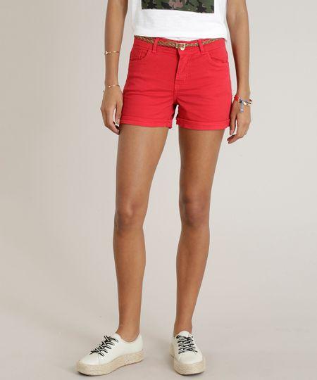 c41a85986 Menor preço em Short de Sarja Feminino Reto com Cinto Trançado Vermelho