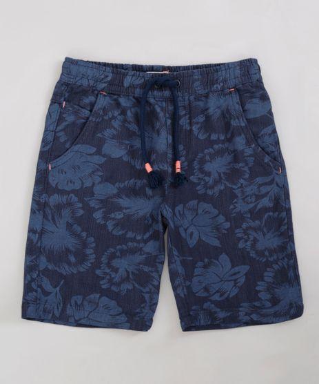 Bermuda-Infantil-Estampada-Floral-com-Cordao-e-Bolsos-Azul-Marinho-9239849-Azul_Marinho_1