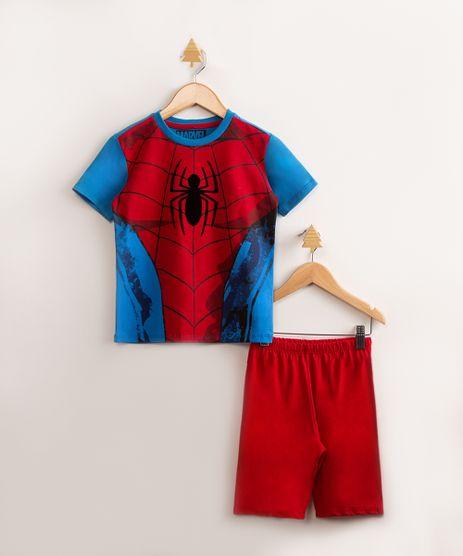 Pijama-Infantil-de-Algodao-Homem-Aranha--Manga-Curta-Vermelho-1000768-Vermelho_1