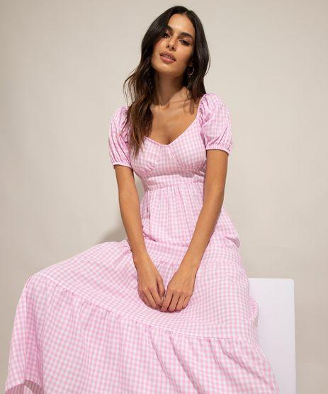 Vestido-Midi-de-Algodao-Estampado-Xadrez-Vichy-Manga-Bufante-Rosa-1001052-Rosa_1