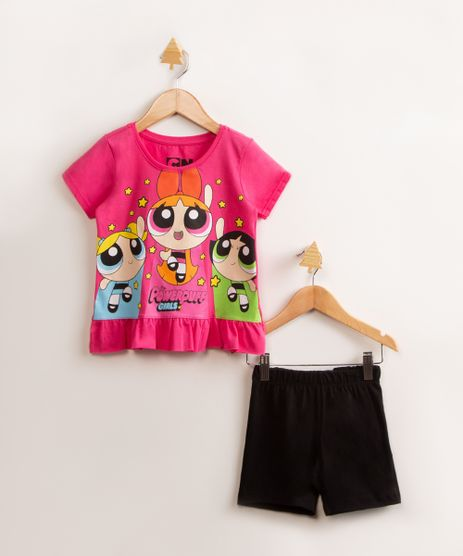 conjunto-infantil-as-meninas-super-poderosas-blusa-manga-curta-rosa---short-de-moletom-preto-9994826-Preto_1