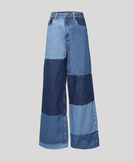 Calca-Wide-Pantalona-Jeans-Patchwork-Cintura-Super-Alta-BFF-Azul-Escuro-1010558-Azul_Escuro_1