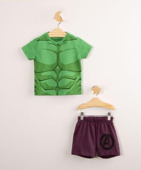 Pijama-de-Algodao-Infantil-Hulk-Os-Vingadores-Manga-Curta-Verde-1000668-Verde_1