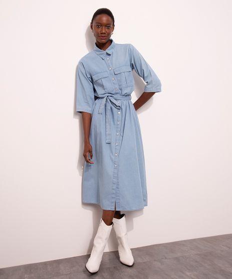 Vestido-Chemise-Midi-Jeans-com-Bolsos-Manga-3-4-Mindset-Azul-Medio-1007302-Azul_Medio_1
