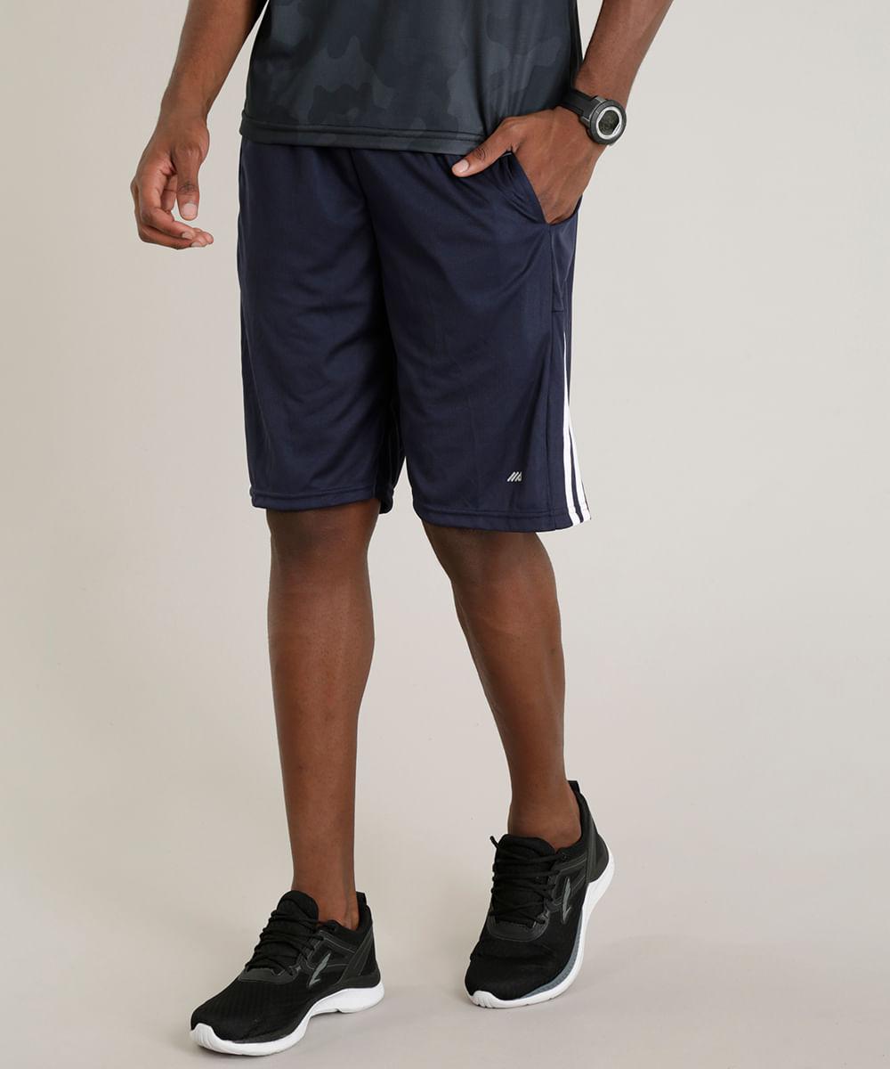 Bermuda Masculina Esportiva de Treino Ace com Listras Laterais Azul ... 3d3d4aeff269e