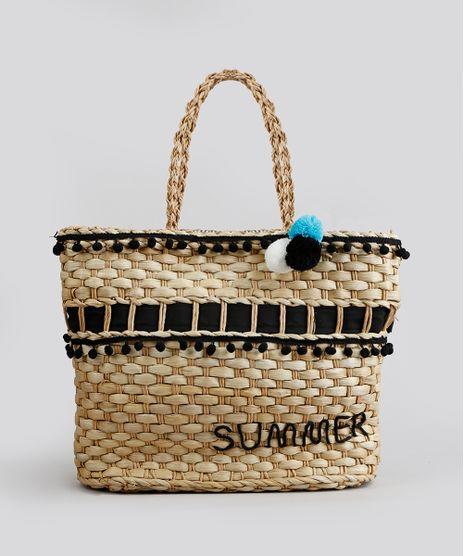 Bolsa-de-Praia-Feminina--Summer--de-Palha-com-Pompom-Bege-8727401-Bege_1