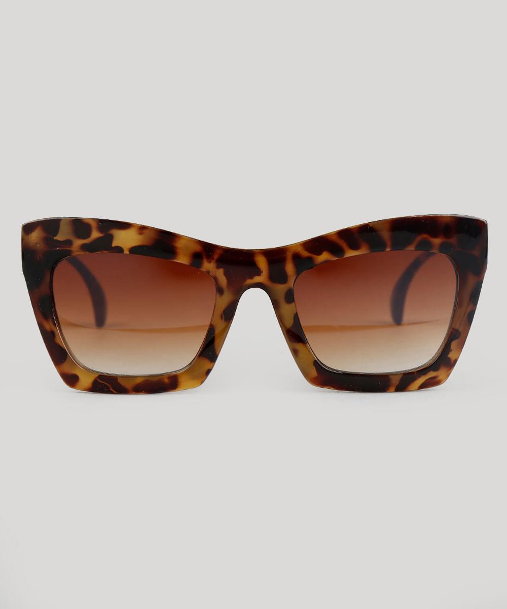 addfa1a035e ... Oculos-de-Sol-Quadrado-Feminino-Oneself-Tartaruga-9307264-