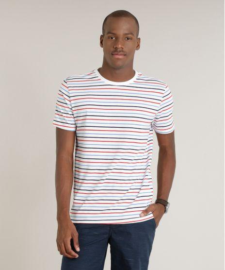 b5096621e993b Camiseta-Masculina-Basica-Listrada-Manga-Curta-Gola-Careca-