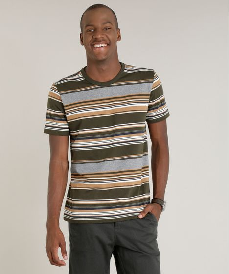 73d6314ae6 Camiseta Masculina Listrada Manga Curta Gola Careca Verde Militar - cea