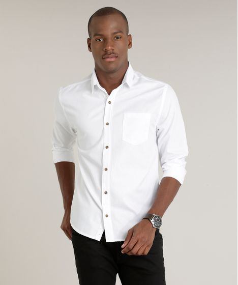 b1eba0957d Camisa Masculina Slim Maquinetada com Bolso Manga Longa Branca - cea