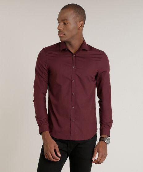 Camisa-Masculina-Slim-Manga-Longa-Vinho-7982473-Vinho_1