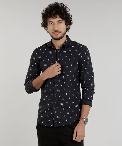 Camisa-Masculina-Slim-Estampada-Mini-Print-de-Rosas-Manga-Longa-Preta-9100342-Preto_1