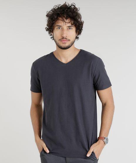 Camiseta-Masculina-Basica-Flame-Manga-Curta-Gola-V-Chumbo-7647200-Chumbo_1