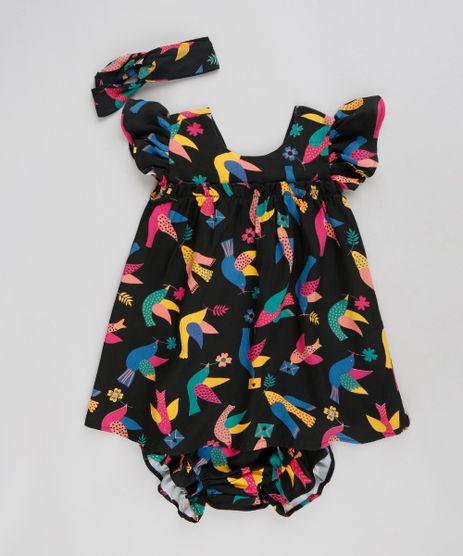 Vestido-Infantil-Fabula-Estampado-de-Passaros-com-Laco-Manga-Curta-Decote-Redondo-Preto-9180448-Preto_1