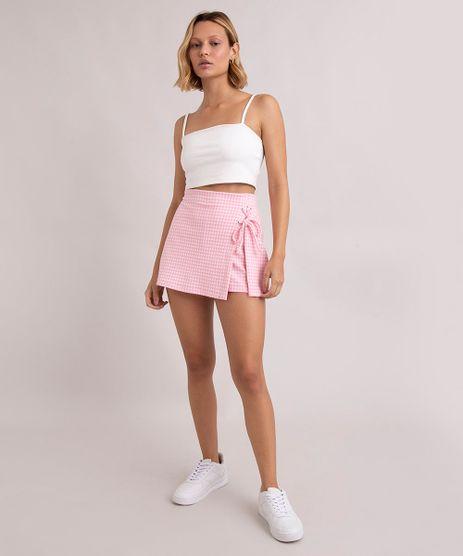 short-saia-estampado-xadrez-vichy-com-lace-up-cintura-super-alta-rosa-9998809-Rosa_1