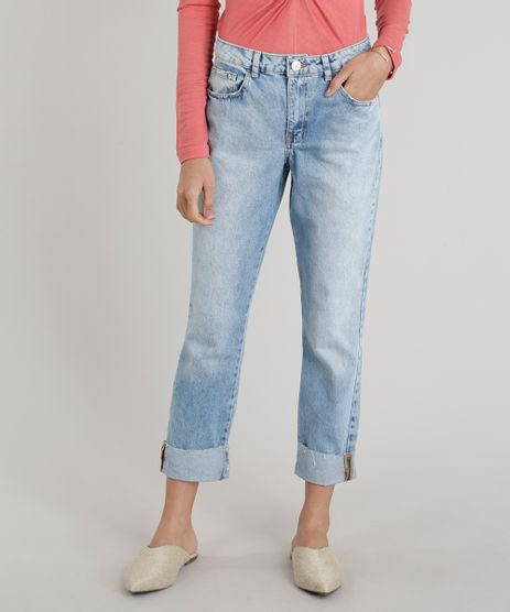 Calca-Jeans-Feminina-Reta-com-Barra-Virada-Azul-Claro-9269735-Azul_Claro_1